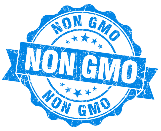 non gmo blue grunge seal isolated on white