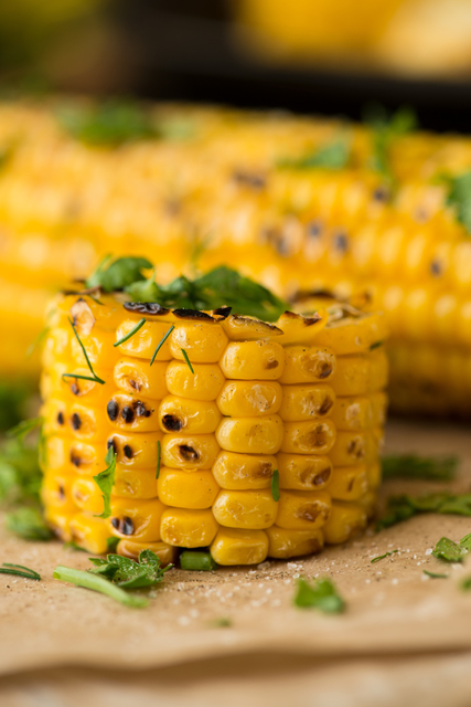 Organic Grilled Mexican Corn with Chili, Cilantro, and Lime